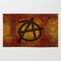 anarchy Area & Throw Rugs featuring Distressed Anarchy by Bruce Stanfield