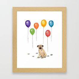 Pug with balloons Framed Art Print