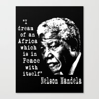 mandela Canvas Prints featuring Mandela by PsychoBudgie
