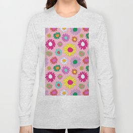 60's Daisy Crazy in Mod Pink Long Sleeve T-shirt