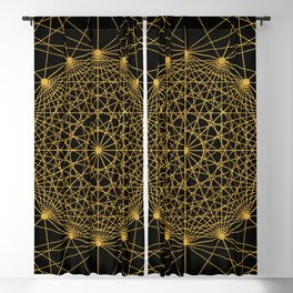 Geometric Circle Black and Gold Blackout Curtain