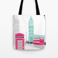 london Tote Bags featuring London  by bluebutton studio