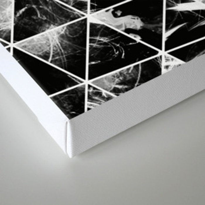 Geometric Whispers - Abstract, black and white triangular, geometric pattern Canvas Print