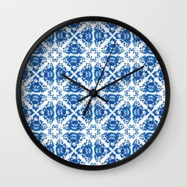 Vintage shabby Chic Seamless pattern with blue flowers and leaves Wall Clock