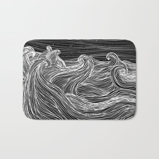 Crashing Waves at Night Bath Mat