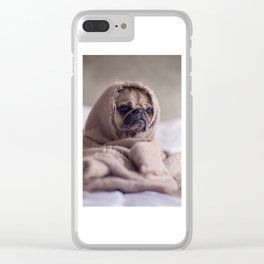 Snug pug in a rug Clear iPhone Case