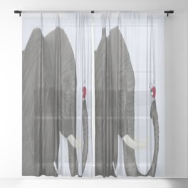 Bertha The Elephant And Her Visitor Sheer Curtain