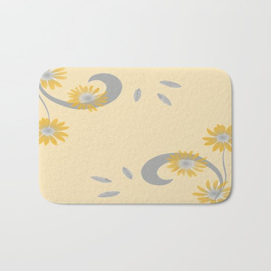 Foral Scroll Design - Orange Bath Mat