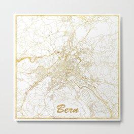 Bern Map Gold Metal Print