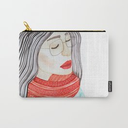 Beautiful lady with closed eyes in a red scarf wearing eyeglasses. Watercolor illustration. Carry-All Pouch