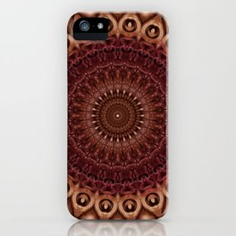 Mandala in brown and red tones iPhone Case