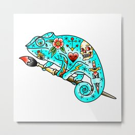 Tattooed Chameleon Metal Print