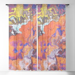 Vibrant Marble Texture no6 - Red Sunset over the Sea Sheer Curtain
