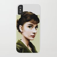 audrey hepburn iPhone & iPod Cases featuring Audrey Hepburn by Sophie Eves