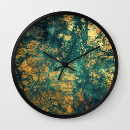 Exquisite Aqua-Green Marble With Gold-Copper Veins Wall Clock
