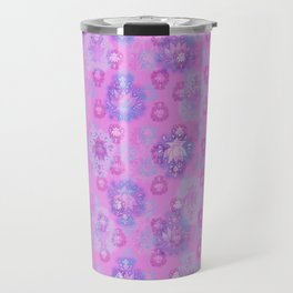 Lotus flower - rich rose woodblock print style pattern Travel Mug