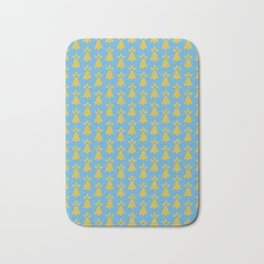 French Country Blue and Gold Ermine Spots Patterned Print Bath Mat
