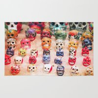 sugar skulls Area & Throw Rugs featuring Sugar Skulls by Jenndalyn