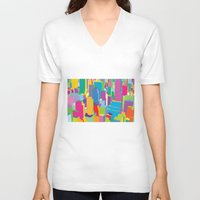 cityscape V-neck T-shirts featuring Cityscape by Glen Gould