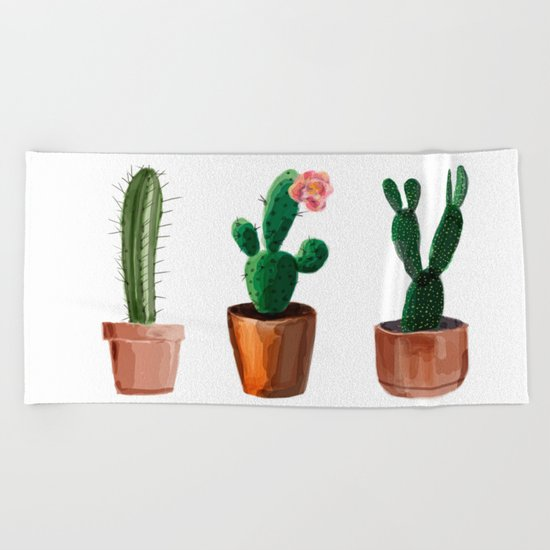 Three Cacti On White Background Beach Towel