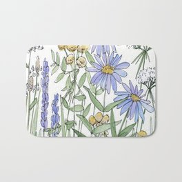 Asters and Wild Flowers Botanical Nature Floral Bath Mat