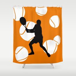 TENNIS Clay Backhand Balls Shower Curtain