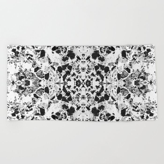 Beautiful Black and White Terrazzo Tile Beach Towel
