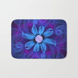 A Snowy Edelweiss Blooming as a Blue Origami Orchid Bath Mat