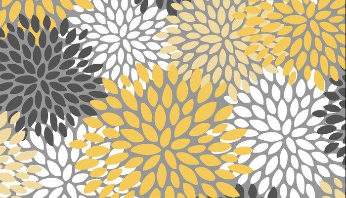 Modern Elegant Chic Floral Pattern, Soft Yellow, Gray, White Pillow Sham
