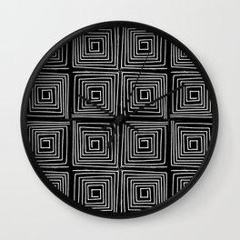 Minimal linocut printmaking geometric square maze pattern scandinavian minimalist Wall Clock