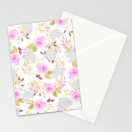 Modern pink gray watercolor hand painted floral elephant Stationery Cards