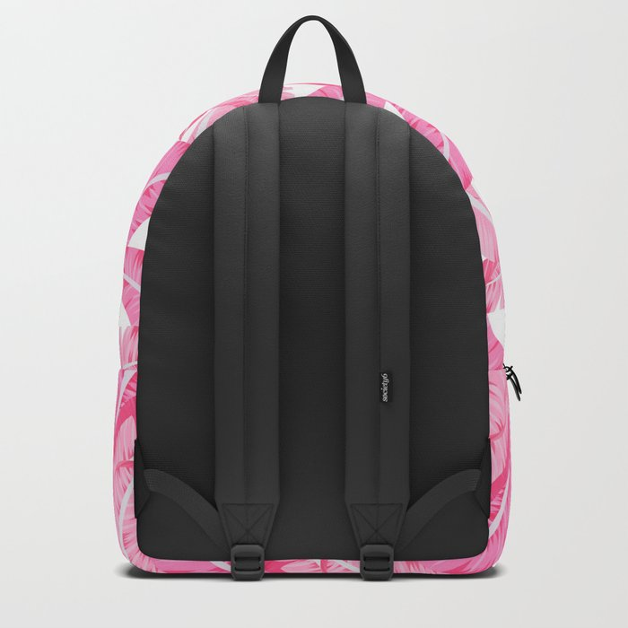 Pink banana leaves tropical pattern on white Backpack
