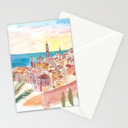 Sunset Over Menton France Provence Stationery Cards