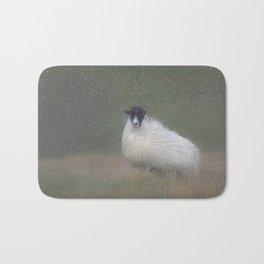 Moorland sheep  in the snow Bath Mat