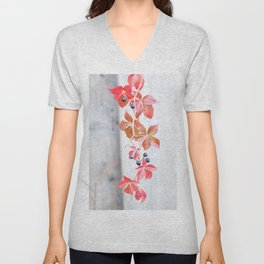 Rustic Berry Vine in the Fall Unisex V-Neck