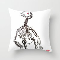 skeleton Throw Pillows featuring Skeleton by Myles Hunt