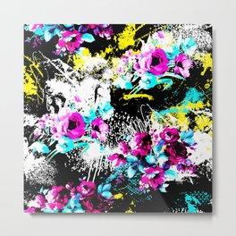 Colorful Splash With Flowers Metal Print