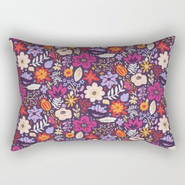 Boho Floral Pattern with Gold Accents Rectangular Pillow