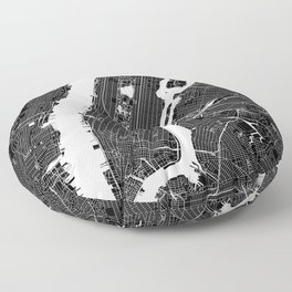 New York City Black And White Map Floor Pillow