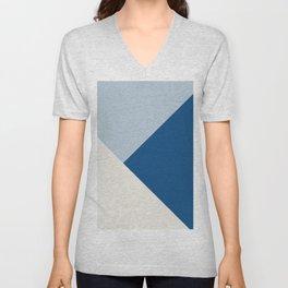 Baby Blue meets Classic Blue & Coconut Milk Geometric #1 #minimal #decor #art #society6 Unisex V-Neck