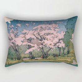 Yoshida Hiroshi - Cherry Blossoms 8scenes, Sankeien Garden - Digital Remastered Edition Rectangular Pillow