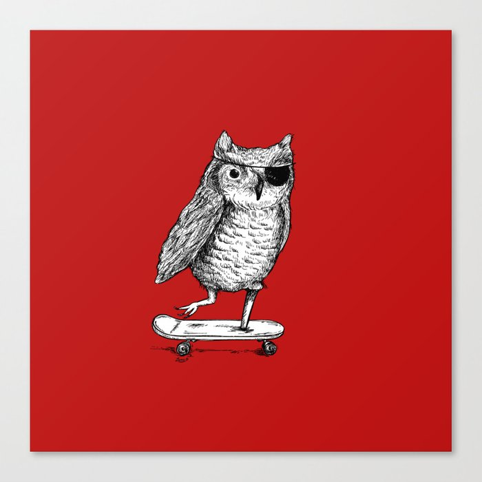 Ride On Owl_red Canvas Print