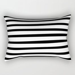 Black and White Hand Drawn Stripes Rectangular Pillow