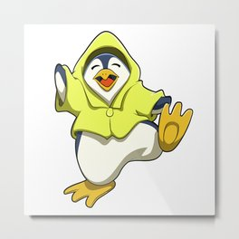 Penguin with Raincoat Metal Print