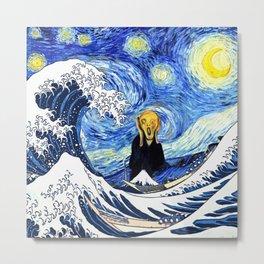The Great Wave Off Kanagawa Starry Night Scream Metal Print