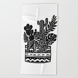 Botanical Pot Block Print Beach Towel