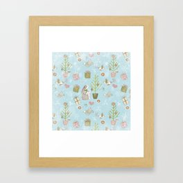 From Bunnies And Christmas - Cute teal X-Mas Pattern Framed Art Print