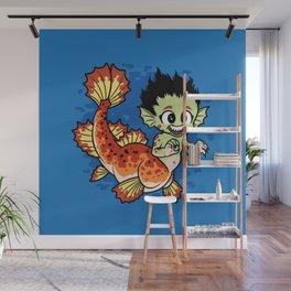 Crimson Pond Dragon Wall Mural