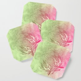 Pink and green wattle and kaleidoscope Coaster