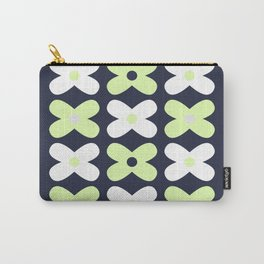 Little Flower Pattern in Navy Blue, Pale Green, Grey, and White Carry-All Pouch
